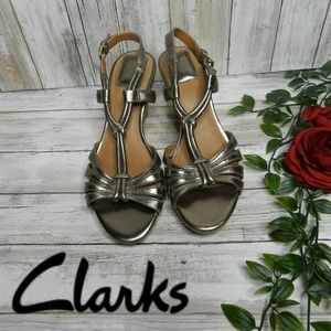 Clarks silver pewter short wedge leather sandals